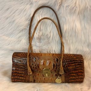 Brahmin Satchel Pecan Alligator Leather Purse